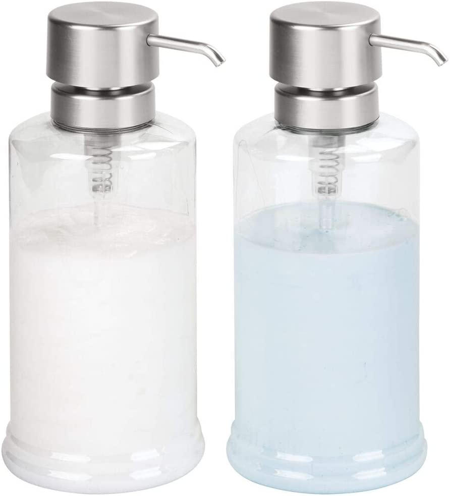 mDesign Extra Large Modern Plastic Refillable Liquid Soap Dispenser Pump Bottle for Bathroom Vanity Countertop, Kitchen Sink - Holds Shampoo, Conditioner, Dish Soap, Hand Soap - 2 Pack - Clear/Brushed