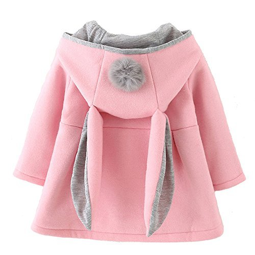 Baby Girl's Toddler Fall Winter Coat Jacket Outerwear Ears Hoodie(10,Pink)