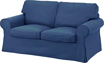 Terrific The Dense Cotton Ektorp Loveseat Cover Replacement Is Custom Made For Ikea Ektorp Loveseat Sofa Slipcover Dark Blue Alphanode Cool Chair Designs And Ideas Alphanodeonline