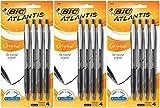 BIC Atlantis Original Retractable Ball Pen, Medium Point, Black, 12 Pens (3 x 4 Count Packages)