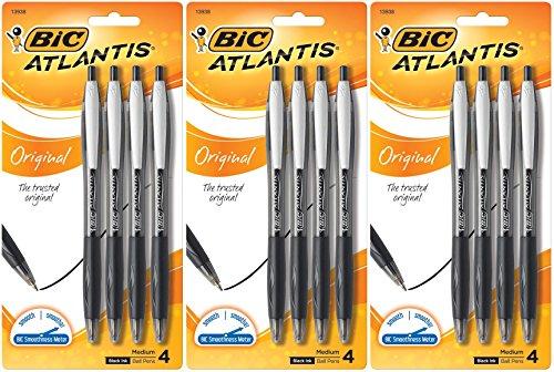 Bic Atlantis Ball Pen (BIC Atlantis Original Retractable Ball Pen, Medium Point, Black, 12 Pens (3 x 4 Count Packages))