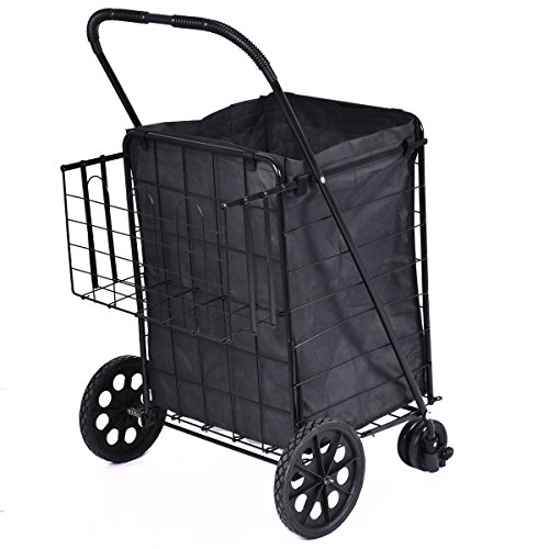 Folding Shopping Cart Jumbo Swivel Wheels Extra Basket Trolley Grocery Laundry Metal Frame For Years Of Use Material Steel Rubber Brand New (Small Cart With Handle compare prices)