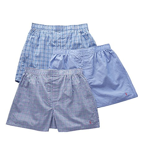 Polo Ralph Lauren Classic Fit 100% Cotton Woven Boxers - 3 Pack (LCWBS3) L/Plaid/Stripe/Plaid (Plaid Mens Classic Boxer)