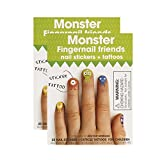 Fingernail Friends Colorful Nail Stickers Nail Art for Children, Monster Stickers with Cuticle Tattoos (50 Stickers & 50 Cuticle Tattoos)