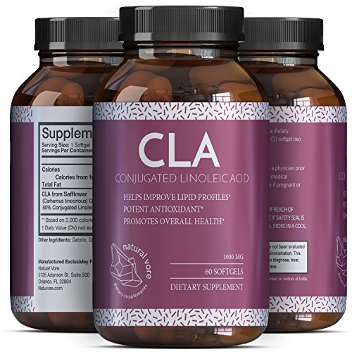 Pure And Potent CLA Safflower Oil - Natural Weight Loss Pills For Men And Women - Conjugated Linoleic Acid Supplement - Burn Belly Fat And Boost Metabolism - CLA Complex 1000 mg By Natural Vore