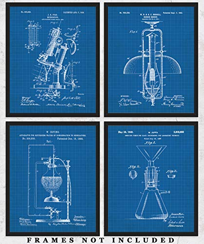 Original Science Lab Equipment Blueprint Wall Art: Unique Room Decor for Boys, Girls, Men & Women - Set of Four (8x10) Unframed Pictures - Great Gift Idea for Scientists, Inventors & Students! -