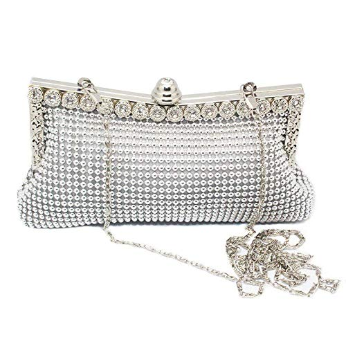 YWAWJ Evening Bags and Clutches for Women Crystal Beaded Rhinestone Purse Wedding Party Handbag (Color : White)