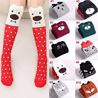 shengyuze Girl Children Cat Polka Dot Print Cartoon Cotton Knee High Middle Tube Socks for Baby Girls Todder