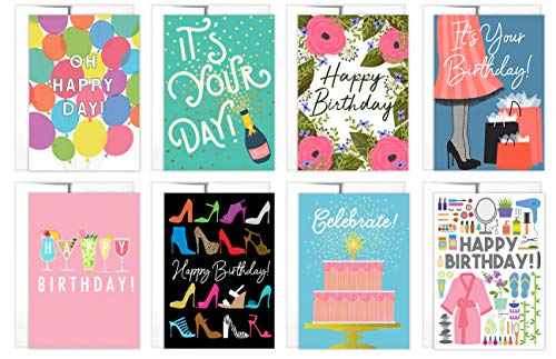 Tiny Expressions 8 Birthday Cards for Women with Inside Messages and Envelopes (8 Womens' Birthday Cards)