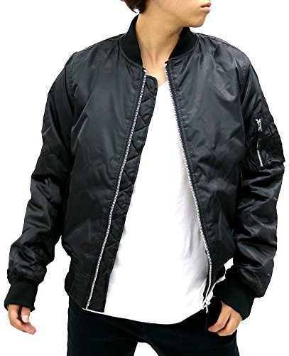Future Bullet Men's MA-1 Bomber Flight Jacket (X-Large, Black /Lining Black)