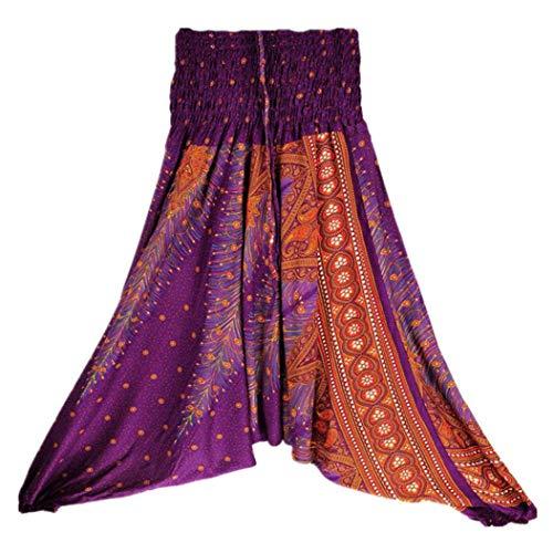 Damenmode Aladdin Boho 2018 Luckycat Sommer Violett Overall Baggy Frauen Yoga lose Pluderhosen Hosen beiläufige qP6pUCwx