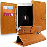 Note 4 Case, Galaxy Note 4 Wallet Case, Cellularvilla [Magnetic Closure] Luxury Genuine Real Leather Wallet Case [Card Slot] Folio Stand Protective Cover for Samsung Galaxy Note 4 (Light Brown)