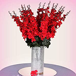 Inna-Wholesale Art Crafts New 18 to 27 Red Delphinium Stems Filler Silk Decorating Flowers Bouquet Centerpieces - Perfect for Any Wedding, Special Occasion or Home Office D?cor 27