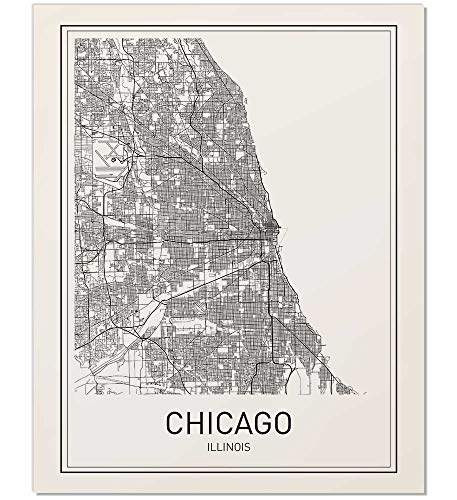 Cheap  Chicago Print, Chicago Map, City Maps, Map Print, Map Art, Map of..
