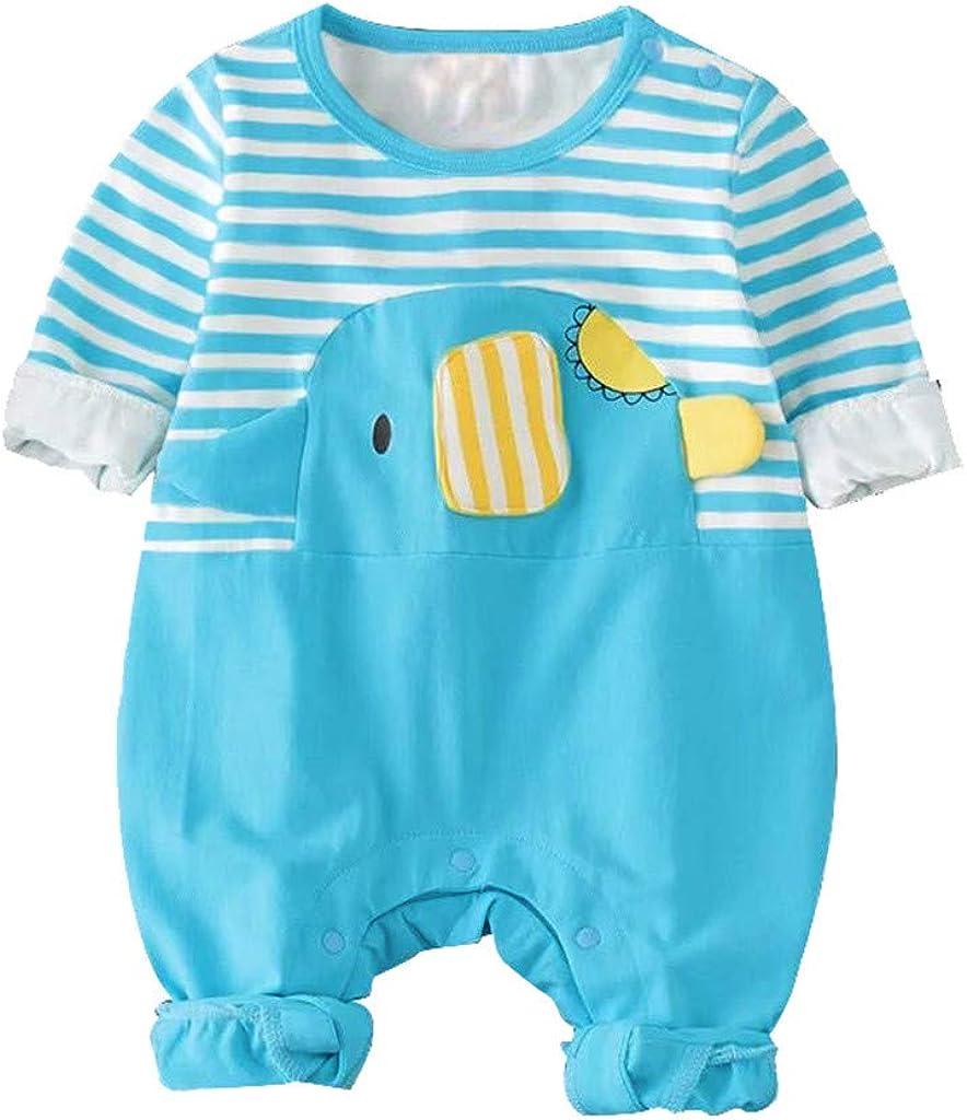 Lanhui Infant Baby Long Sleeve Cartoon Elephant Stripe Print Siamese Jumpsuit Boys Girls Romper