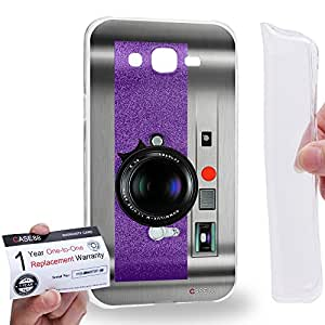 Case88 [Samsung Galaxy J7] Gel TPU Carcasa/Funda & Tarjeta de garantía - Art Drawing Violet Retro Old Style Camera Art1887