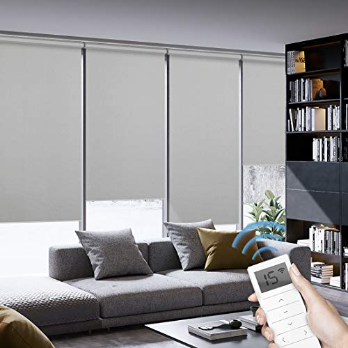 Graywind Motorized Roller Shades 100% Blackout Window Shades Cordless Thermal Insulated Window Roller Blinds with Valance and Triple Weaved Fabric for Smart Home and Office, Customized Size Light Grey