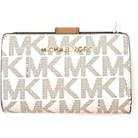 Michael Kors Jet Set Travel PVC Signature Bifold Zip Coin Wallet Clutch