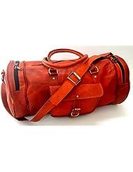 Firu-Handmade 20 Vintage Style Leather Brown Duffel Gym Sports Luggage Travel Bag Handmade Free Size