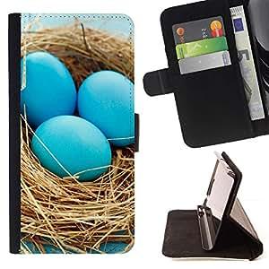 Momo Phone Case / Flip Funda de Cuero Case Cover - Huevos azules Nido;;;;;;;; - LG G3