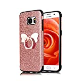 Funyye Bling Glitter Sparkle Rubber Case for Samsung Galaxy S7,Luxury 360 Degree Rotating Grip Butterfly Ring Stand Holder Anti-Scratch Ultra Thin Soft Silicone TPU Durable Case for Samsung Galaxy S7 + 1 x Free Screen Protector,Rose Gold
