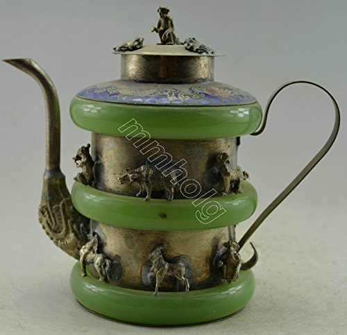 Asia Collectible Decorated Old Handwork Silver Plate Copper Jade Carved China 12 Zodiac Tea Pot