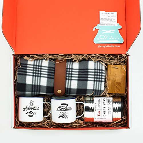 - Coffee Camp Gift Box by Thoughtfully Gifts- Perfect for Camping No Outlet Required! Unique Coffee Lovers Kit Includes 100% Columbian Coffee, Wooden Pour Over Box, Fleece Blanket, Mugs & Filters