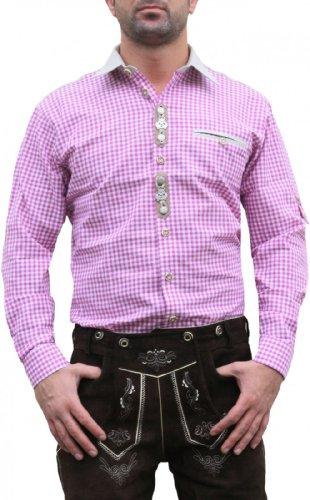 Trachtenhemd hemd für Lederhosen oktoberfest fashing brombeer/kariert, Hemdgröße:2XL
