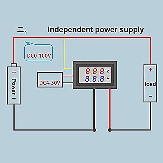 Volt/ímetro de se/ñal digital LED de 6 a 100 V con indicador de voltaje digital medidor de voltaje