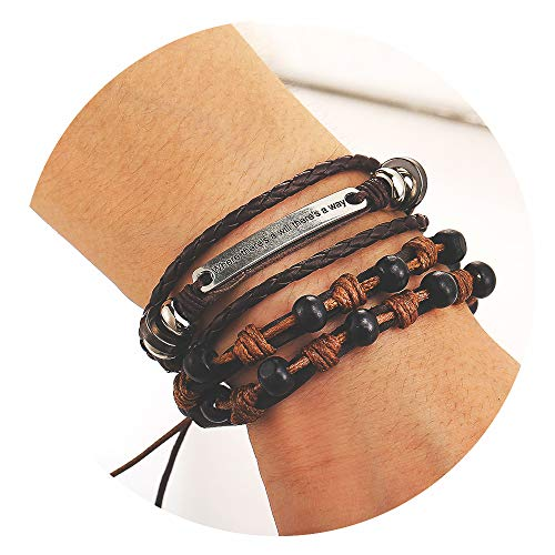 (77Fine Mens Leather Wrap Bracelets Boho Braided Wood Bead Cuff Handmade Bracelet Set 2Pcs Brown Gifts for Women Where There is a Will There is a Way)