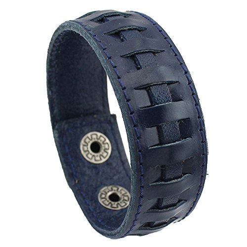 cheap PearlyPearls Unisex Leather Cuff Bracelet Wide Belt Wristband Vintage Jewelry big discount
