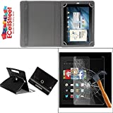 ECellStreet PU LEATHER 360° Rotating Flip Case Cover With Stand For Kindle Fire HD 7 + Free Tempered Glass toughened Glass Screen Protector - black