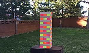 LIMELIGHT GAMES Ultimate Black Light Giant Tumbling Tower - Entertain Your Large Group Day Or Night - Glowing Blocks - Premium Carrying Case - 5 Feet Tall - Precision Milled Wooden Stacking Block Set