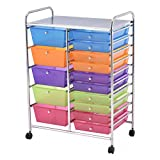 Giantex 15 Drawer Rolling Storage Cart Tools Scrapbook Paper Office School Organizer