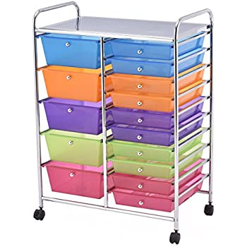 Amazoncom Seville Classics Drawer Organizer Cart Multi Color - Craft organizer cart on wheels