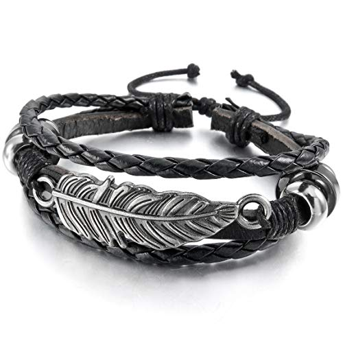 INBLUE Men,Womens Alloy Leather Bracelet Bangle Cuff Silver Tone Black Brown Angel Wing Feather Adjustable