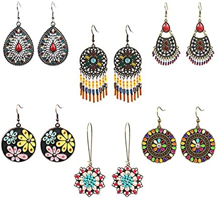 Amazon Com 6 Pairs Vintage Bohemian Earrings Set National Retro Rhinestone Ear For Girl With Feather Shaped Tassel For Women Jewelry