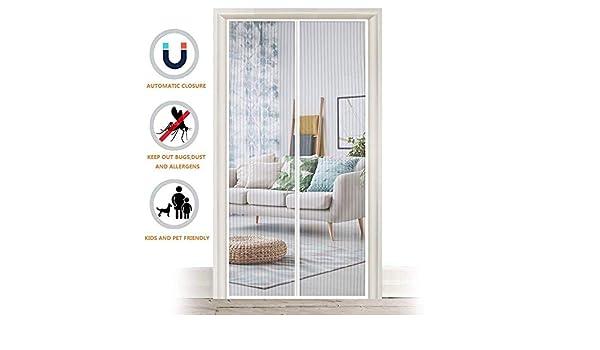 Puerta con pantalla magnética, cortina de mosquitera robusta con imanes potentes y cinta de marco completo, mosquitera, sin espacio, sin insectos, 35