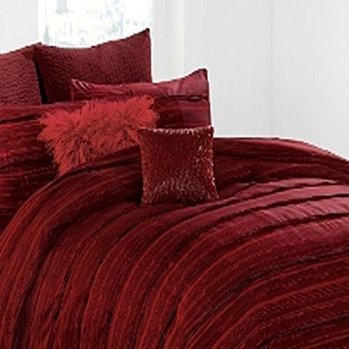 DKNY Washed Stripe Euro Pillow Sham, Wine Color