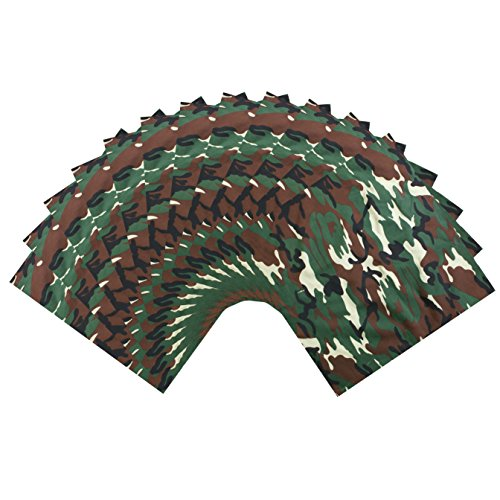 SSK Bandana 12-Pack. One Dozen Colorful Bandanas (Olive Green Camo) from Shoe String King