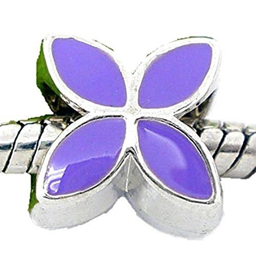 Charm Buddy Purple Flower Charm Fits Silver Pandora Style Bracelets