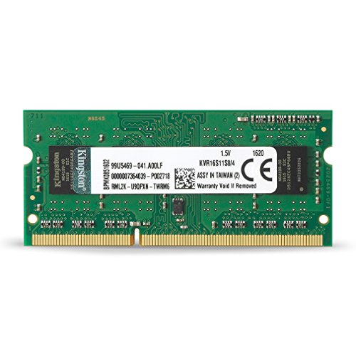 Kingston ValueRAM 4GB 1600MHz PC3-12800 DDR3 Non-ECC CL11 SODIMM SR x8 Notebook Memory (KVR16S11S8/4) by Kingston Technology