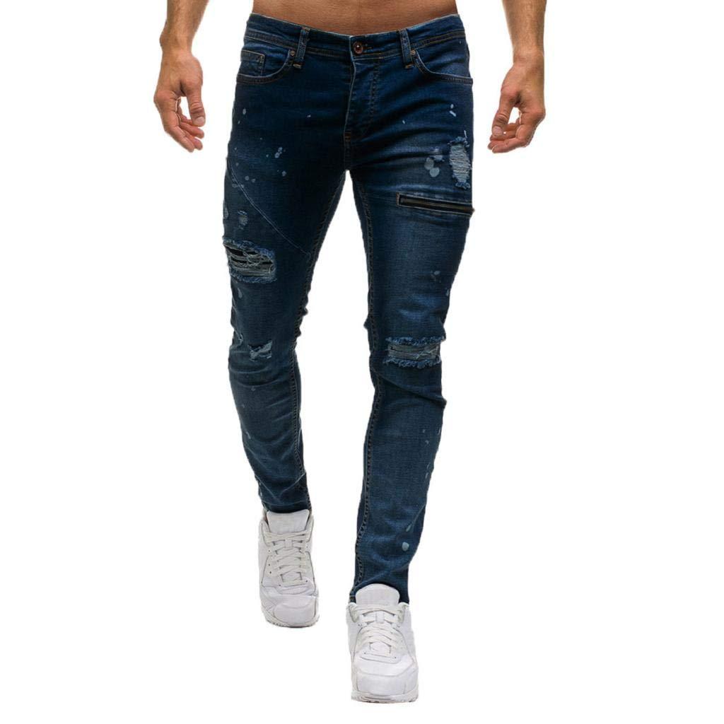 Quicklyly Pantalones Vaqueros Hombre Pitillo Rotos Chandals Trekking Skinny Pantalones Vaqueros Con Cremallera Estilo De Mezclilla Para Hombre Agujeros Casuales Hombre Pantalones
