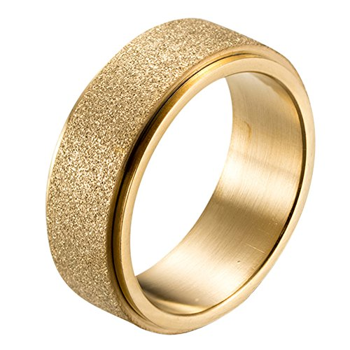 PAURO Men's Stainless Steel Gold Plated Sandblast Finish Spinner Worry Ring 8mm Band Size 8