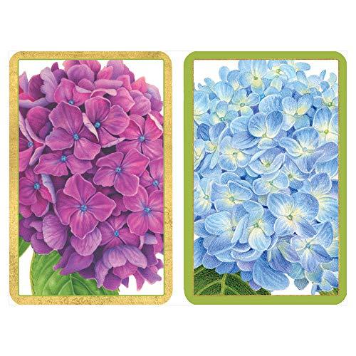 Caspari Hydrangea Garden Large Type Playing Cards, 2 Decks Included
