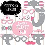 Pink Elephant - Girl Baby Shower or Birthday Party Photo Booth Props Kit - 20 Count