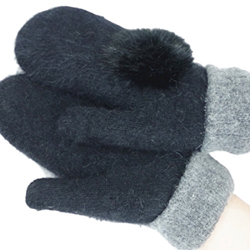 Women's Winter Thick Gloves Warm Wool Knitted Mitten with Plush Ball Decor
