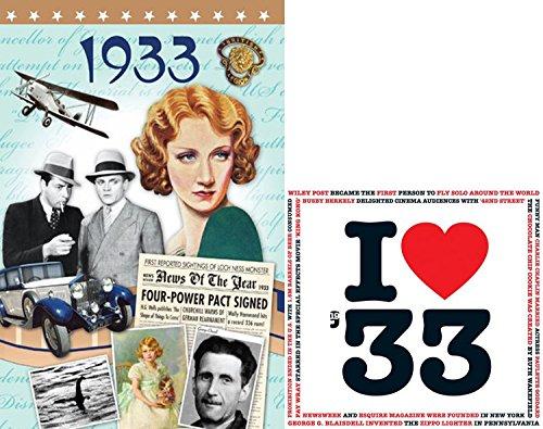 - 1933 Birthday Gifts Set - 1933 I Heart Music Cd , 1933 News DVD and 1933 Retro Greeting Card