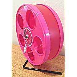 "SUGAR GLIDER/HAMSTER 8"" DIAMETER EXERCISE 'WODENT' WHEEL IN ASST. COLORS (RED W. PINK PANELS)"