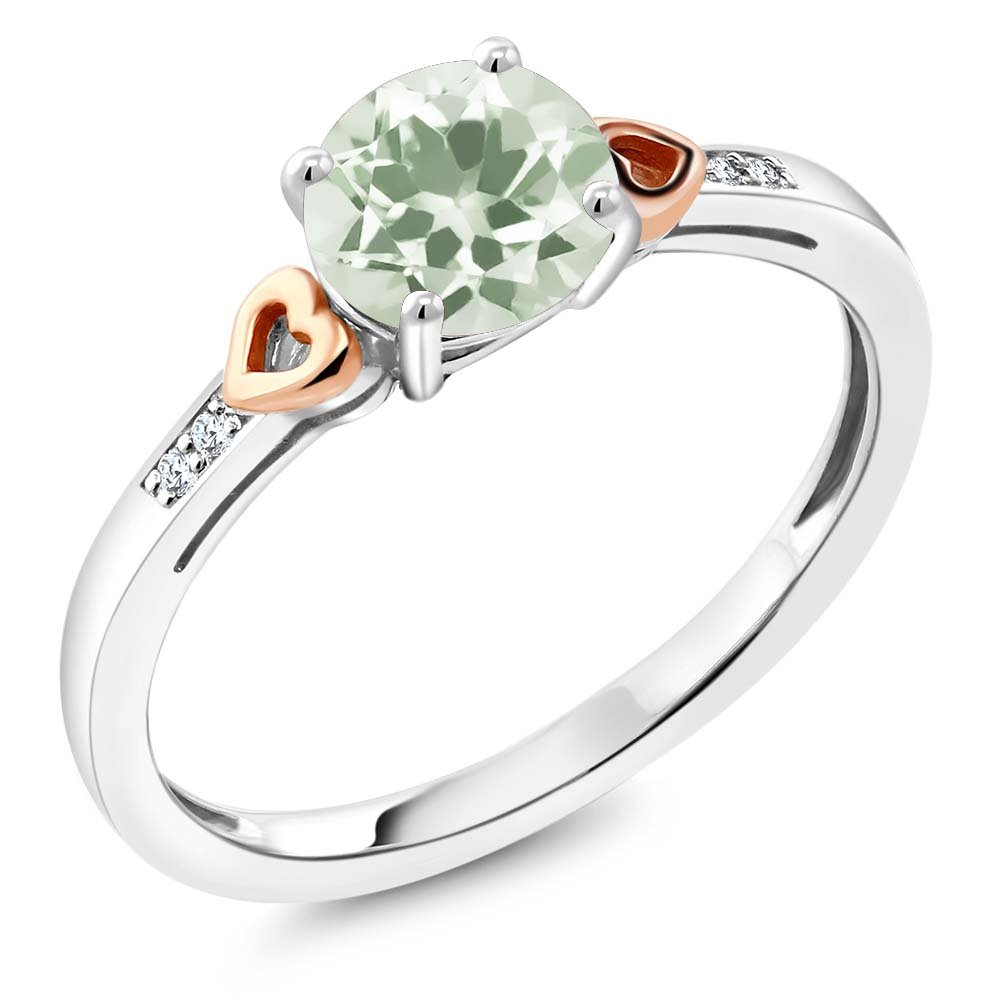 925 Sterling Silver and 10K Rose Gold Ring Round Green Prasiolite with Diamond Accent (1.11 cttw, Available in size 5,6,7,8,9)